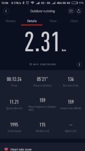 Beh v Žiline - krátka trasa, prehľad behu v aplikácii MiFit