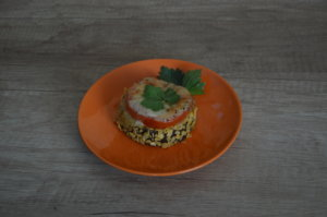 Zapekaný baklažán s mozzarellou - obal z kukuričných lupienkov